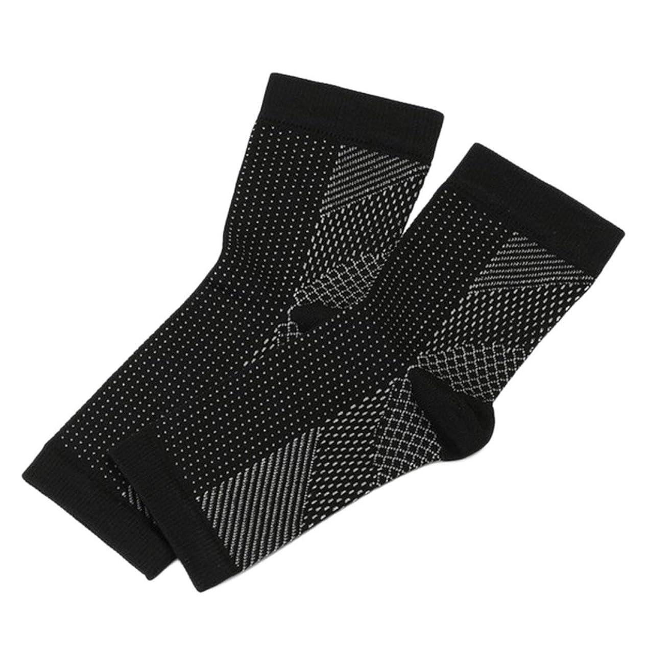 綺麗な審判ファックスプロ用スポーツフットアングルアンチ疲労コンプレッションフットスリーブアンチ疲労靴下 - ブラックS/M