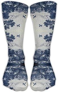 Hunter qiang, Mujer Classic Delfter azul azulejos de cerámica inspirado modelo rodilla hueco cuidado Viaje Compresión Comodidad Zapatos de mujer largo: 50 cm