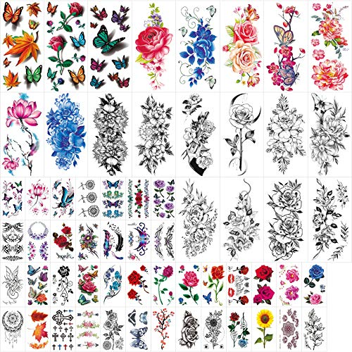 60 Sheets Temporary Tattoos for Women Black Rose Flowers and Colored 3D Butterflies Mixed Style Fake Tattoo Stickers for Girls Body Art