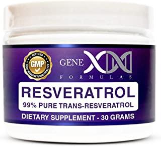 Genex Resveratrol Powder 1000mg Serving 99% Pure Micronized Pharmaceutical Grade Trans-Resveratrol Powder 1000mg 30Grams 1...