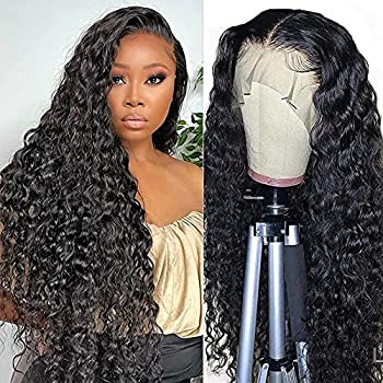13x4 Water Wave Lace Front Wigs Human Hair Wigs for Black Women Wet and Wavy Human Hair Lace Front Wigs Pre Plucked with Baby Hair 150% Density Brazilian Virgin Curly Lace Frontal Wigs 20 Inch