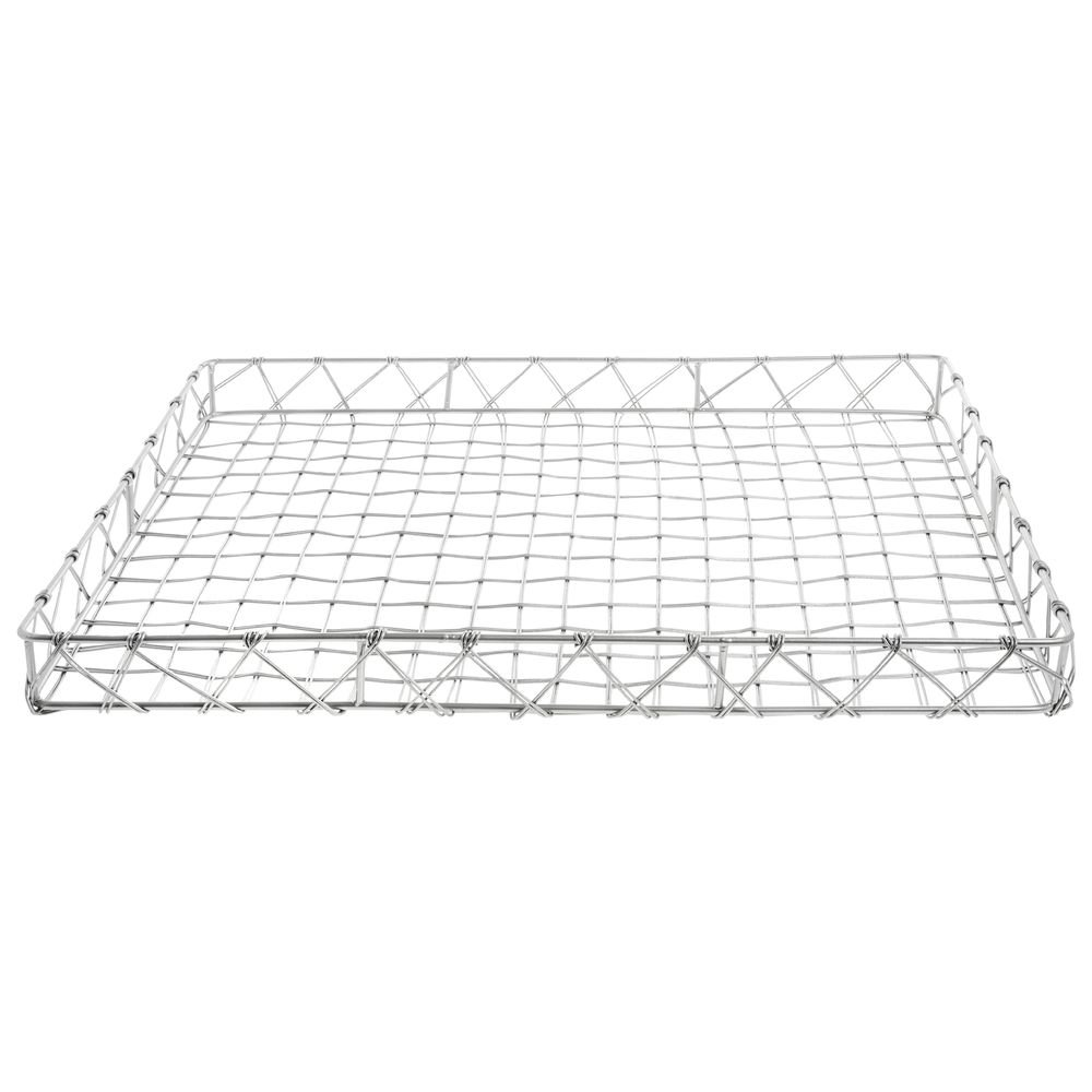 safety Pastry Basket Rectangular Tapered Silver Steel Mail order cheap 2 x 24