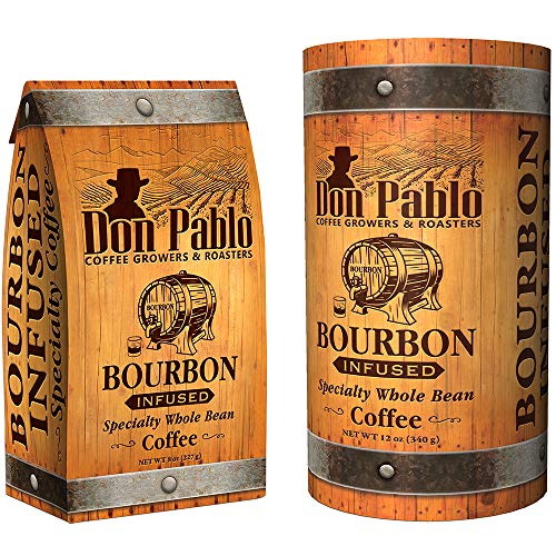 12oz Don Pablo Bourbon Infused Specialty Coffee - Whole Bean Coffee - 12 ounce bag in collectible tube