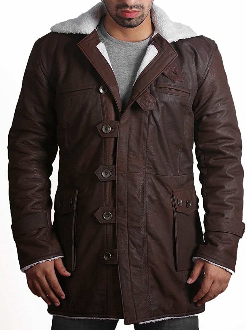 Tom Hardy Bane Coat Trench Bomber Aviator Distressed Brown Mens Leather Jacket