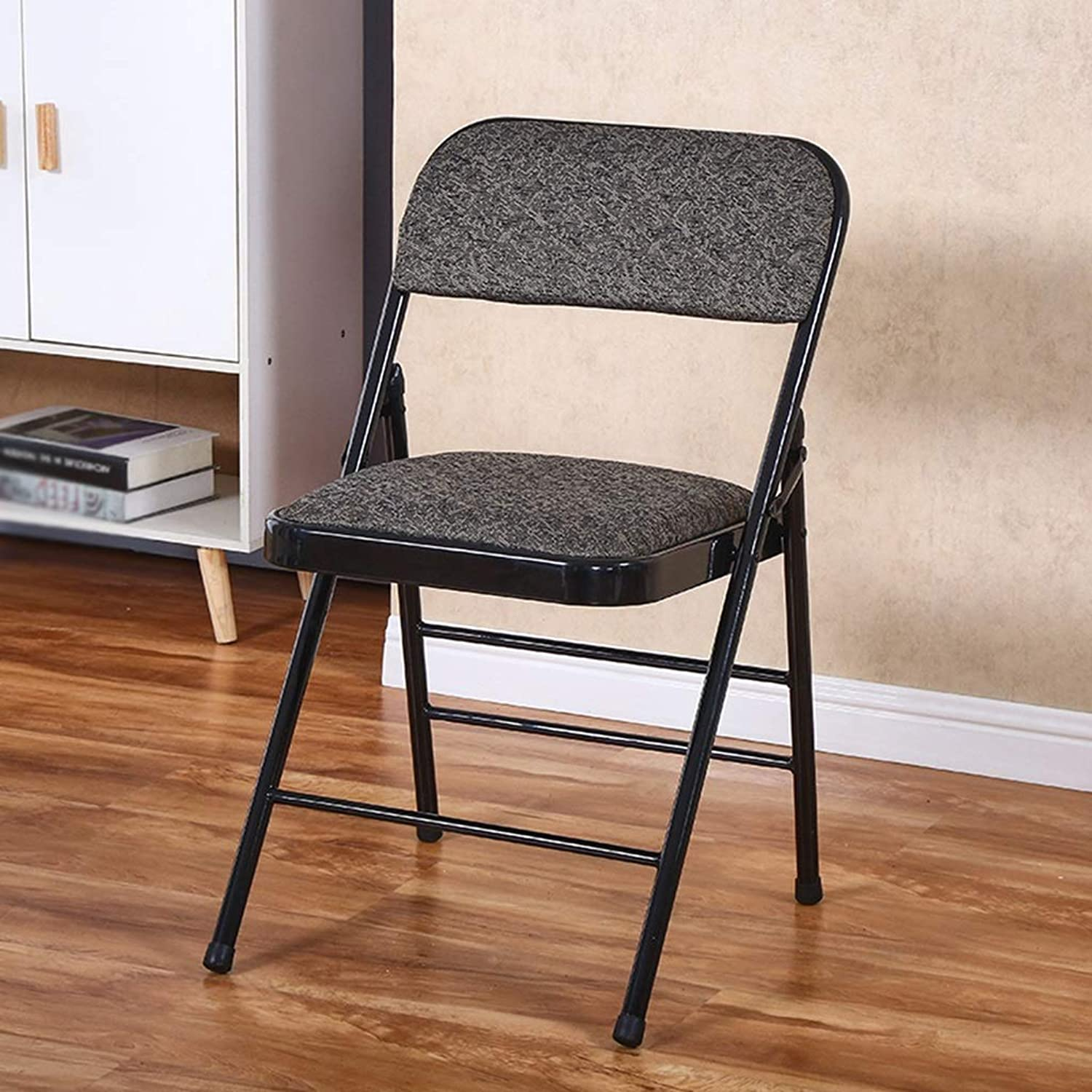 Balcony Folding Chair, Cloth Sponge Metal Folding Chair Household Bedroom Chair Office Studio Folding Chairs Height 79CM (color   Black)