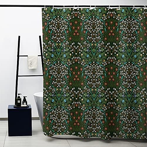 Obal William Morris Cortina de ducha, diseño original, verde, rojo, blanco, Navidad, juego de cortina de ducha para baño, tela pesada, lavable, 12 ganchos, 180 x 180 cm