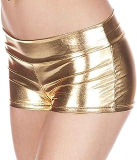 Koalcom Womens Sexy Lingerie Low Waisted Sexy Metallic Shorts Shiny Pole Dance Shorts