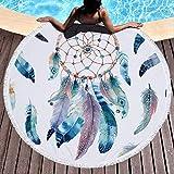 WZNB Grande Serviette de Bain pour Femme Plage épaisse Ronde 3D Serviette de Plage Tissu Serviette de Compression Rapide Tapisserie Tapis de Yoga 150 cm Dream Catcher 3