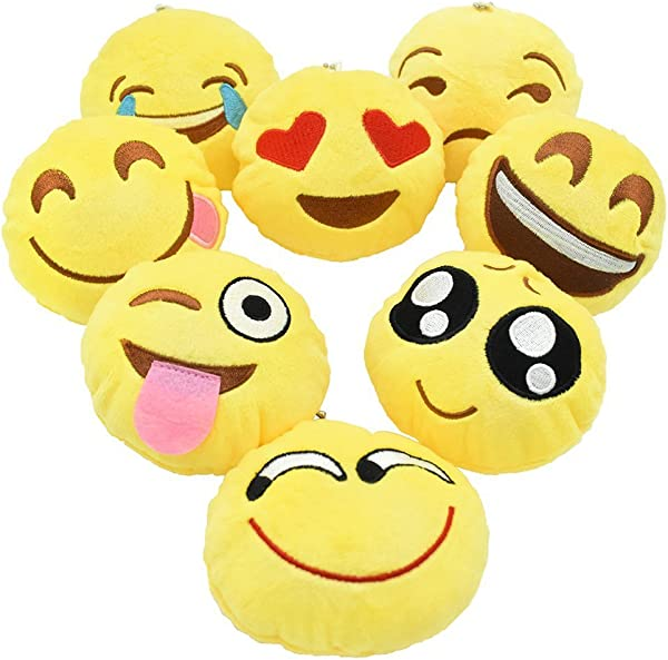 YINGGG Cute Emoji Pop Plush Key Chain Pillow Kids Soft Toy Chrismas Tree Supplies Easter Gift For Kids Car Key Ring Pendant Decorations For Birthday Decoration Classroom Rewards Party Favor Set Of 8