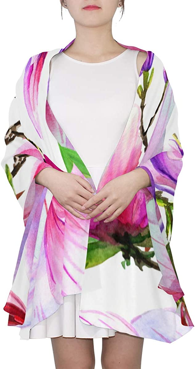 Purple Papaver Watercolor Patterns Unique Fashion Scarf For Women Lightweight Fashion Fall Winter Print Scarves Shawl Wraps Gifts For Early Spring