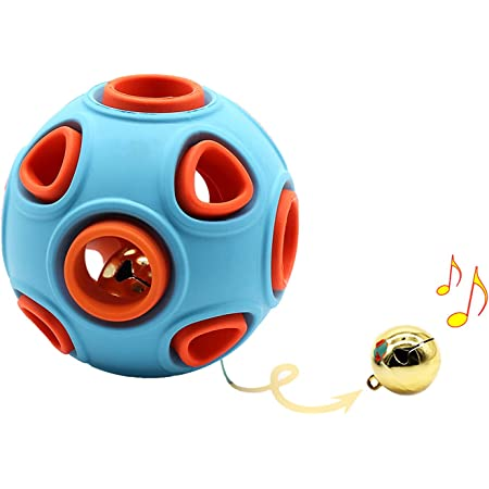 犬用おもちゃ 玩具ボール 鈴付き 音の出る 天然ゴム 耐久性 運動不足 ストレス解消 (ブルー, 大)