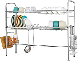NEX Over the Sink Dish Drying Rack 2 Tier Stainless Steel Adjustable Kitchen Dish Rack