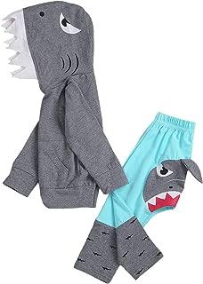 Unisex Baby Autumn Winter Shark Hooded Sweatshirt Boys Girls Hoodies with Kangaroo Muff Pockets & Shark Fin