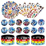 Sonic Birthday Party Supplies Hedgehog Party Favors 12 Bracelet 12 Button pins 50 Sonic Stickers 6 Sheet of Tattoo Stickers