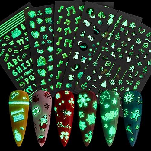 PMSMT Serie Luminosa Nuevas Pegatinas para decoración de uñas Consejos para decoración Envoltorios para uñas Feliz Navidad Navidad Música Manicura Pegatinas