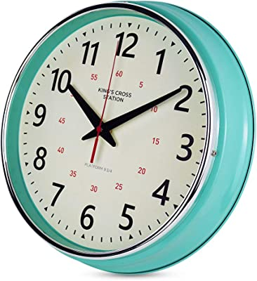 Amazon Com Yavis Countryside Style Metal Wall Clock Retro Vintage Wall Clock Non Ticking Silent Easy To Read For Living Room Kitchen Bedroom Office 12 4 Inch Turquoise Kitchen Dining