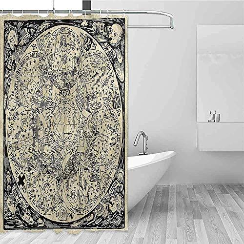 Wild One Curtain bloemendouchegordijn Astrologie oude kaartsymbolen douchegordijn rustiek, douchegordijn voor badkamer, W122 X H183 cm / 48 x 72 inch