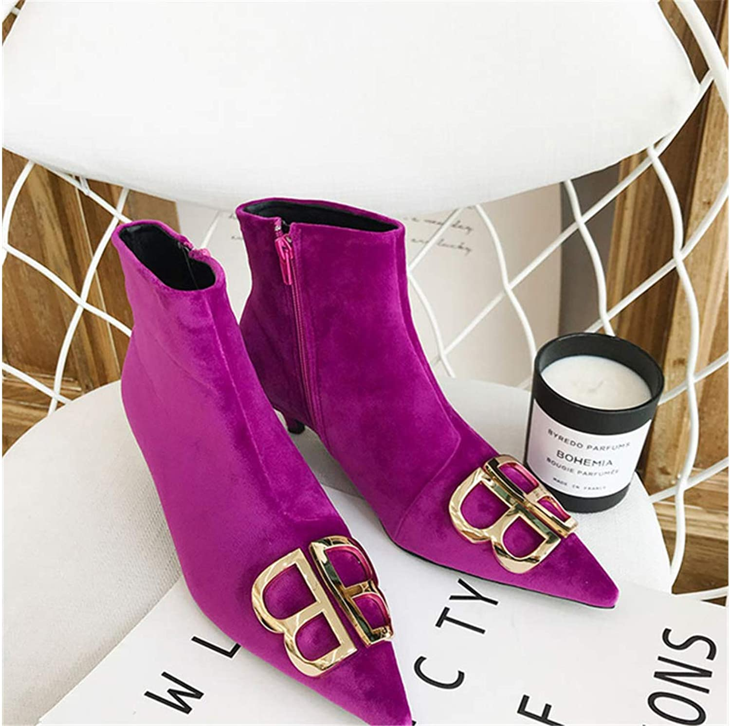 Mon Moira Pointed Toe Plaid Kitten Heel Women Boots Metal Decoration Sexy Ankle Boots Brand Design Women Boots shoes SWE0364
