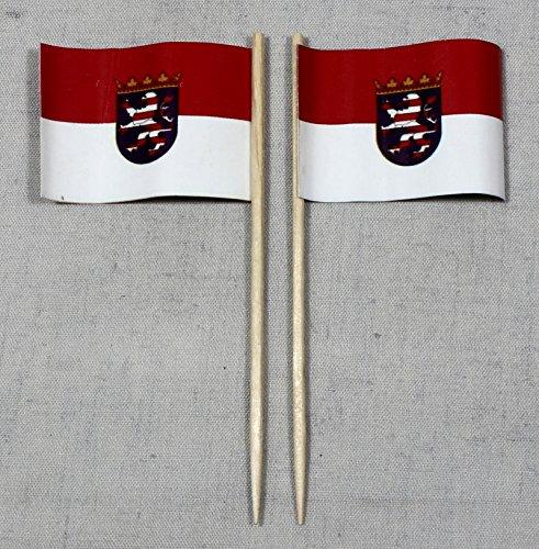 Buddel-Bini Party-Picker Flagge Hessen Papierfähnchen in Profiqualität 50 Stück 8 cm Offsetdruck Riesenauswahl aus eigener Herstellung