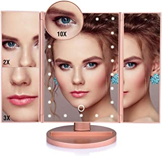 Tri-Fold Illuminated Vanity Mirror with LED Lights Makeup Mirror with 2X/3X/10X Magnifying Light Up Cosmetic Table Mirror Touch Screen Dimming 180° Rotation (Rose Gold)