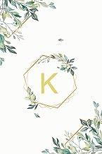 Κ: κ Kappa, Initial Monogram Greek Alphabet Letter Κ Kappa, Cute Interior Leaves Decoration, Lined Notebook/Journal, 100 P...