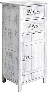 Rebecca Mobili Armario blanco, mueble baño, 1 puerta 2 cajones , madera, estilo shabby, muebles para dormitorio- Medidas: 84 x 37 x p 31 cm ( AxANxF) - Art. RE4575