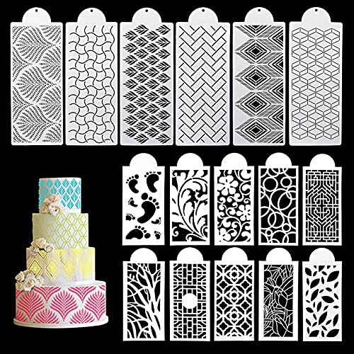 16PCs Cake Decorating Stencils, Floral Cake Templates Cake Printing Fine Hollow Lace Cookie Fondant Dessert Decorating Molds, Side Baking Mesh Stencil Tool for Cake Decorations (Side Baking)