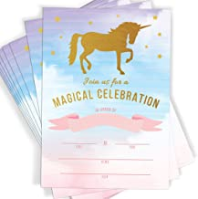 Magical Unicorn Celebration, Rainbow Party Fill in Invitations, 10 Invitations and Envelopes