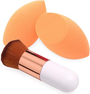 BAIMEI Makeup Sponges with Kabuki Foundation Brush, Latex-Free, Dry or Wet Dual Use, Professional Blender Beauty Sponge for Powder, Cream and Liquid Foundation Application (2 Sponges + 1 Brush)