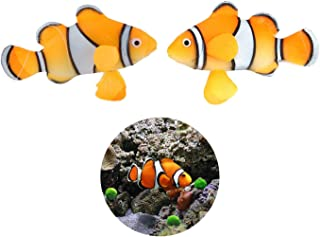 LDEXIN 2 Pack Silicone Artificial Aquarium Floating Clownfish Decoration Fish Tank Decor Underwater Saltwater Fake Fish Glowing Ornament