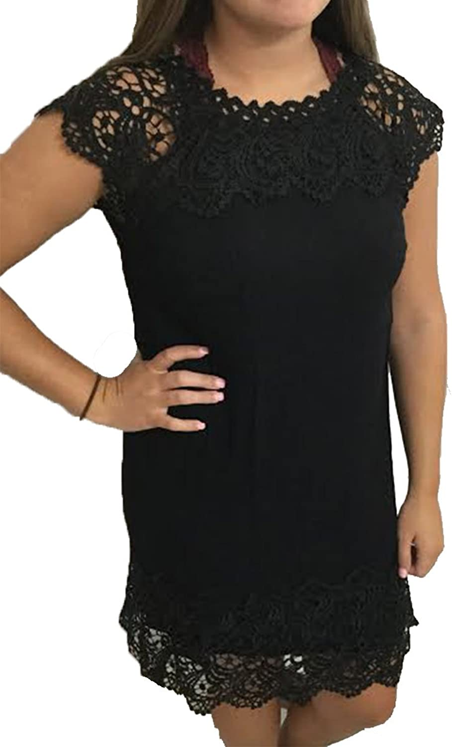 Andree By Unit Ladies Beautiful High Neck Dress with Crochet Detailing