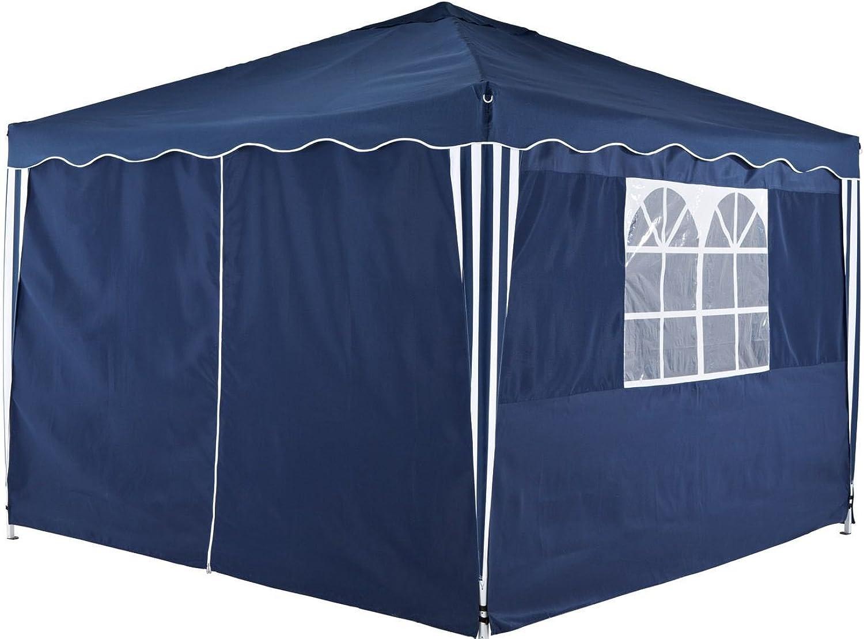 DeFacto Pavillon 3x3m Faltpavillon Gartenzelt  Popup  PVC - wasserdicht  Zwei Seitenwand (eine volle Wand EIN Fenster)  Tragetasche16,1kg (Blau)