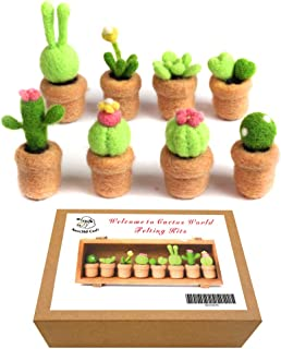 Artec360 Needle Felting Kits Succulent Cacti Merino Wool - 3 Felting Needles, 1 Pair Finger Guards, Black High-Density Foam Mat with Photo Instructions (8 Pack)