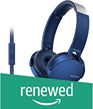 (Renewed) Sony Extra Bass MDR-XB550AP On-Ear Headphones with Mic (Blue)
