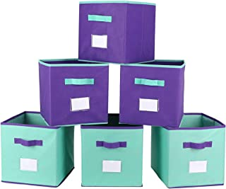 TQVAI Mix Color Foldable Storage Cubes 6 with Label Holder Colorful Kid Toy Basket Bins - 6 Pack - Mix Purple & Mint Green