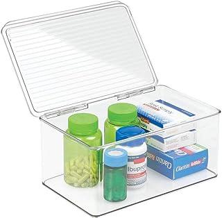 mDesign Wielofunkcyjne pudełko do przechowywania leków, makijażu lub kosmetyków - plastikowy pojemnik na witaminę - pudełk...
