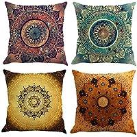 Gspirit 4 Pack Retro Mandala Bohemia Algodón Lino Throw Pillow Case Funda de Almohada para Cojín 45x45 cm
