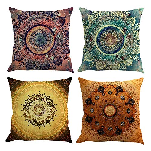 Gspirit 4 Pack Retro Mandala Bohemia Algodón Lino Throw Pillow Case Funda de...