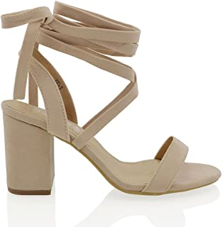 707a192f975 ESSEX GLAM Womens Chunky Block Low Mid Heel Lace Up Strappy Sandal Faux  Suede Shoes