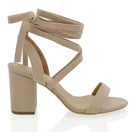 48e68380a52 Womens Lace Up Block Mid Heel Ankle Tie Wrap Lace Up Strappy Sandal Shoes