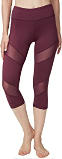 ONGASOFT Womens Capri Legging Yoga Pants Mesh Exercise Workout Leggings W Pocket