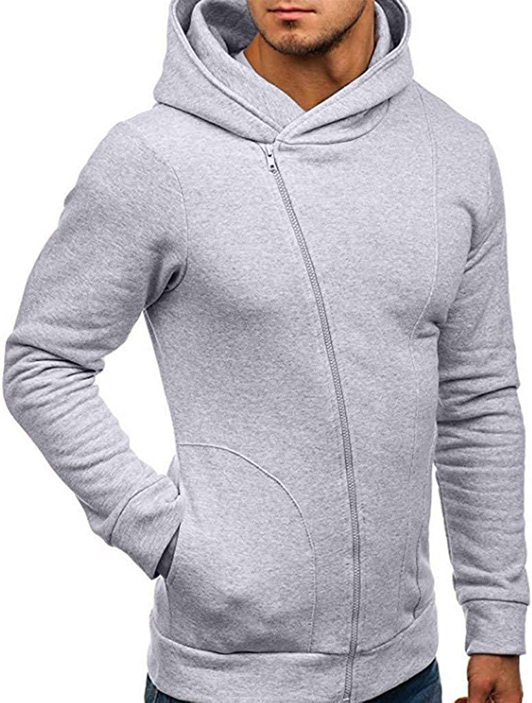 Mens Hoodies Autumn Winter Lightweight Slim Casual Long Sleeve Solid Hooded Pullover Sweatshirts Outwear Jacket Coats