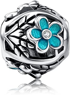 i'ange's 925 Sterling Silver Mermaid Serie Bead Charms with Crystal for Bracelets of Girls and Women Blue