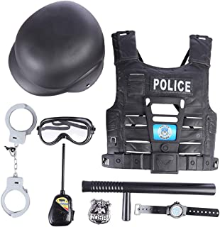 FenglinTech 8 Pcs Police Costume Set, Police Vest with Accessories for Kids with Toy Role