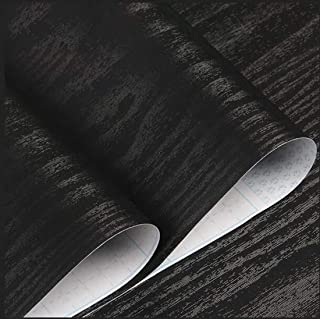 """Black Wood Grain Contact Paper Wood Peel and Stick Wallpaper Self Adhesive Film Removable Textured Wood Decorative Furniture Covering Faux Vinyl Shelf Drawer Liner Furniture Renovation 78.7""""x17.7"""""""