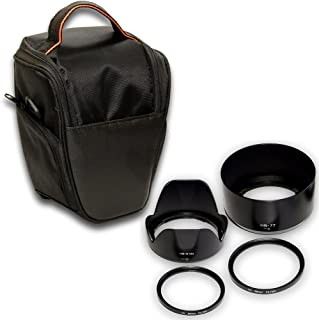 F-Foto Nikon 一眼レフ D3400/D5600/D5300 AF-P ダブルズーム キット に適合 HB-N106 & HB-77 互換フード 2個 、レンズ保護フィルター2枚と 一眼カメラケース の 5点 セット (衝撃吸収 セミハードケース ブラック)H106775558F_CASE