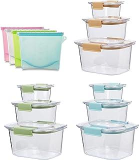 Lot de 9 boîtes alimentaires réutilisables avec couvercles à verrouillage facile - Boîtes hermétiques en plastique pour ra...