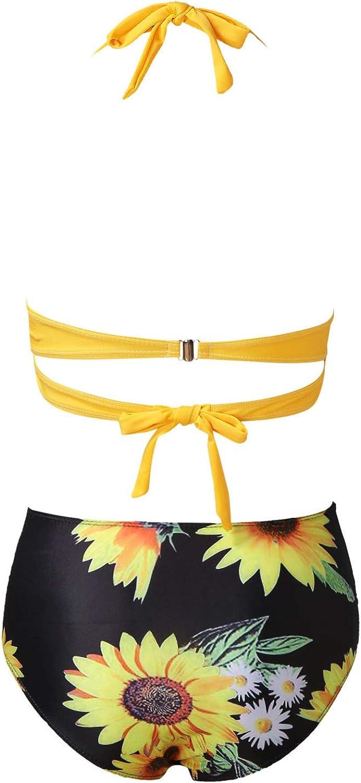 Chanyuhui Swimsuits for Women High Waisted Bikini Sets Two Piece Tummy Control Bathing Suits Sexy Print Halter Swimwear