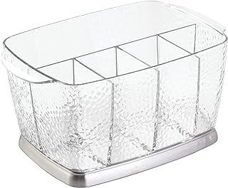 InterDesign Rain boite pour couverts et serviettes de table portatif, support couvert en plastique et acier inoxydable, tr...