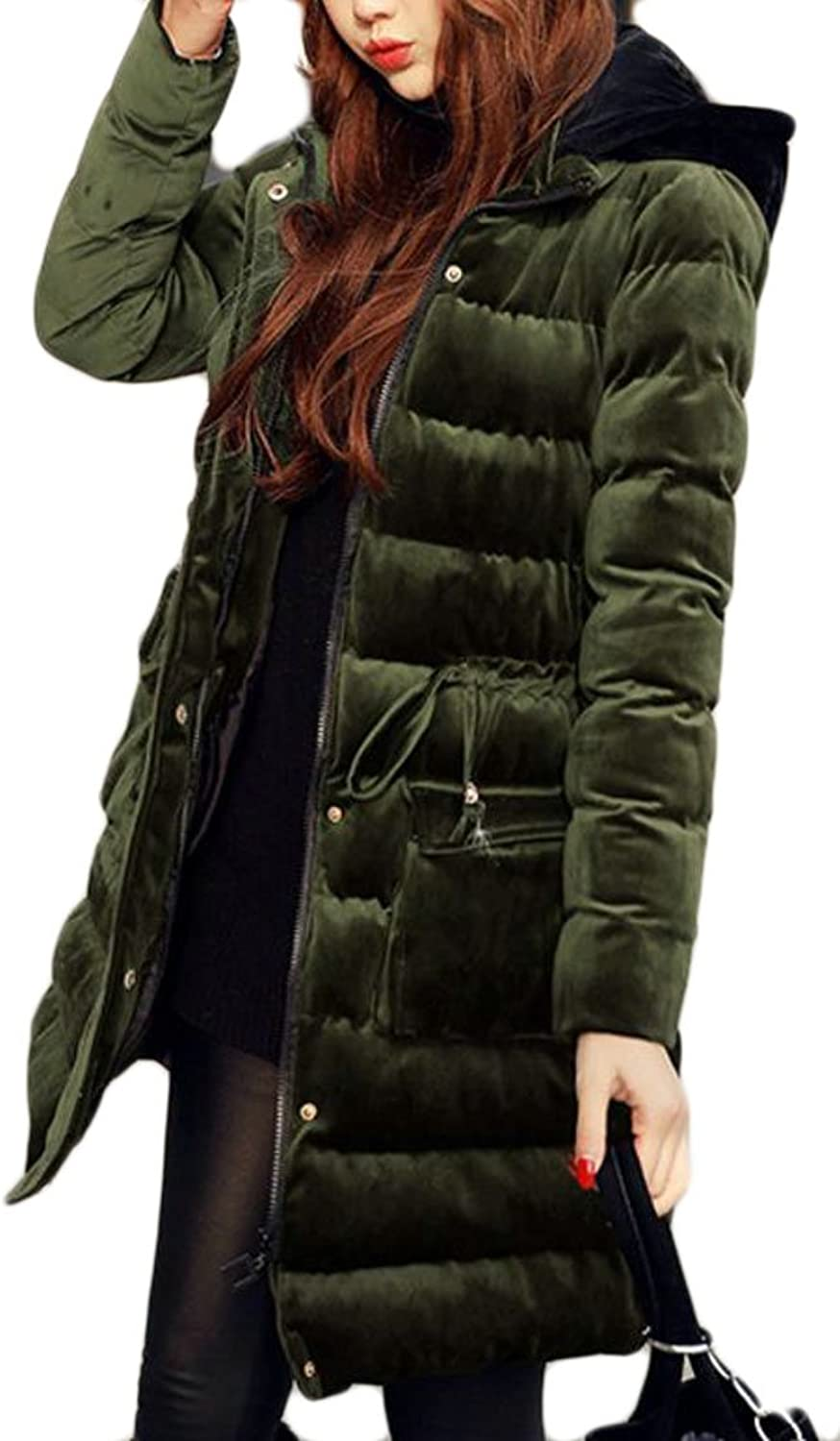 8bea44d32 Womens Warm Thicken Velour Hooded Down Coat Parka Outwear Cromoncent ...